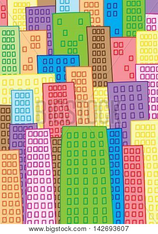 overcrowded high density mega city vector illustration