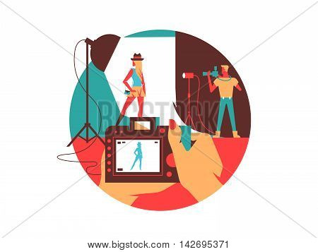 Photographing in studio. Model photo shooting, occupation photographer. Vector illustration