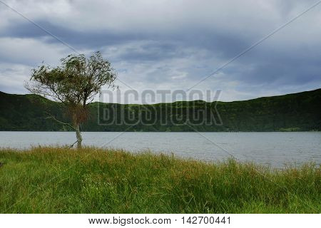 calm beautiful and peaceful landscape view Blue Lake Lagoa Azul in Sete Cidades at Sao Miguel Azores island in Portugal in tourist holiday destination landmark and vacation travel adventure concept
