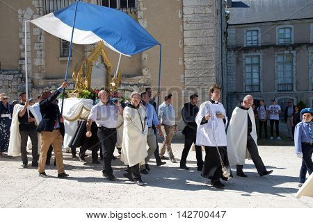 CHARTRES, FRANCE - AUGUST 15: Annual Procession of the Assumption in srues Chartres around the Cathedral, with the presence of the Bishop of Chartres August 15, 2016