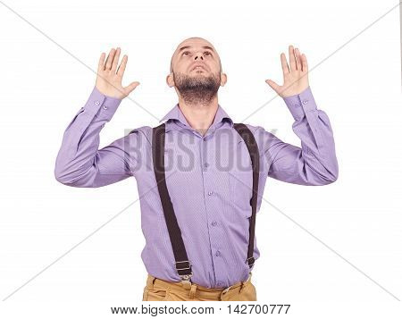 Man Looking At Sky With Your Hands Up.
