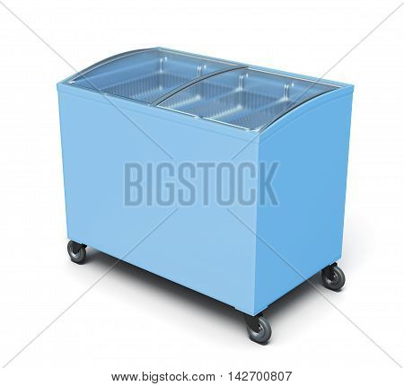 Freezer Chest Isolated On White Background. 3D Rendering