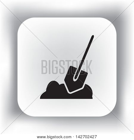 Flat icon. Shovel in the ground.