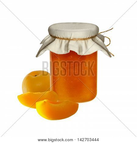 Apricot jam with fruit pieces in a glass jar on isolated background