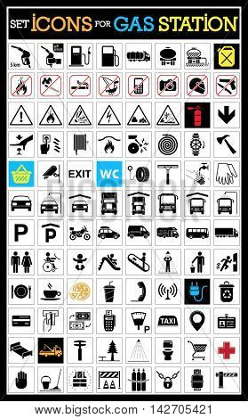 Very useful and usable set of icons for gas station and other services on the road. Collection of premium quality pictograms.