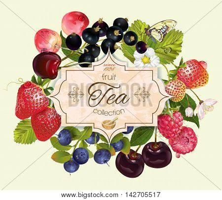 Vector berry tea vintage banner. Design for tea, natural cosmetics, beauty store, dessert menu, organic health care products, perfume, aromatherapy. Can be used as logo design