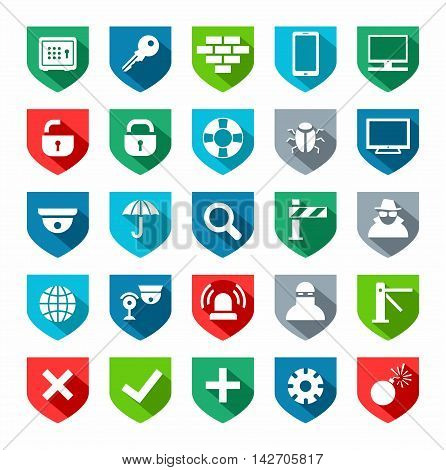 Security, icons, colored, flat. Vector, flat icons on the theme of protection and safety of people and computers. Colored icons on white background.