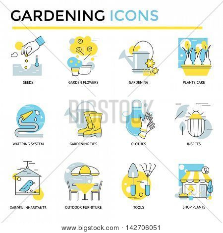 Gardening icons, thin line, flat design