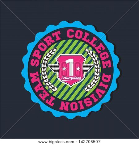 American sport college varsity team division champions logo, emblem, label. Very easy to use for apparel. Pink color version.