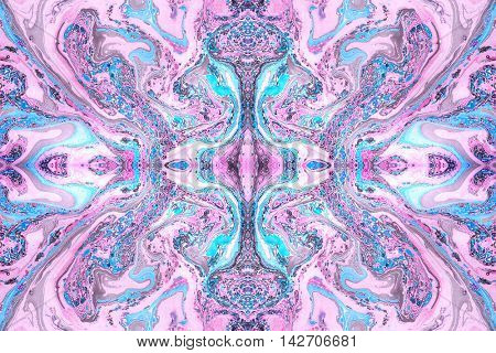 Seamless abstract background made with hand marbled paper, pink blue and black ink.