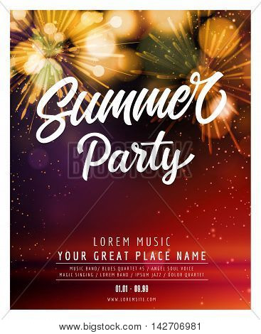 Summer Party lettering. Invitation with fireworks. Sample text. Handwritten text, calligraphy. For tickets, posters, banners, leaflets and brochure.
