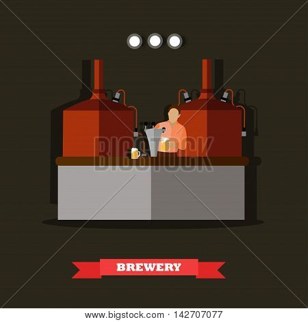 Brewery and beer restaurant concept vector illustration. Brewing production metal tanks.