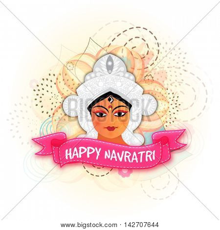 Beautiful illustration of Hindu Mythological Goddess Durga and Pink Ribbon with text Happy Navratri on abstract floral background for Indian Festival celebration.