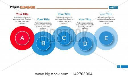 Five steps diagram. Element of presentation, process chart, circle diagram. Concept for business data, infographics, templates. Can be used for topics like business strategy, analysis, progress