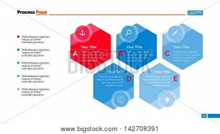 Five steps hexagon diagram. Element of presentation, step diagram, chart. Concept for business infographics, templates, reports. Can be used for topics like strategy, planning, marketing analysis