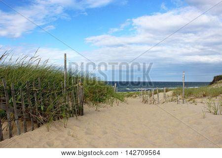 The path through the dunes to Head of the Meadow beach in Truro, Cape Cod , Massachusetts.