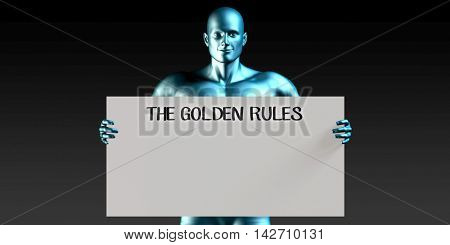 The Golden Rules with a Man Carrying Reminder Sign 3d Illustration Render