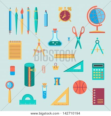 Back to school flat design modern color vector icon set. School supplies : schoolbook notebook pen pencil brush scissors ball pencil case globe ruler etc.