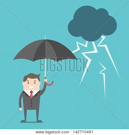 Businessman, Umbrella And Thunderstorm