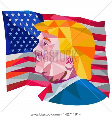August 15, 2016: Illustration showing Republican Party presidential president 2016 candidate Donald John Trump side profile with USA stars and stripes falg done in low polygon art style.
