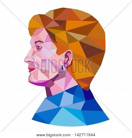August 15, 2016: Illustration showing Democratic Party presidential candidate for president 2016 Hillary Clinton side view profile done in low polygon art style.