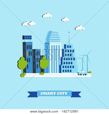 Smart city concept vector illustration in flat style. Modern city design with innovation technologies.