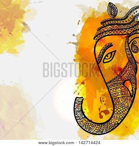Vector floral illustration of Lord Ganesha Face on colorful splash for Ganesh Chaturthi Festival Celebrated by Indians.