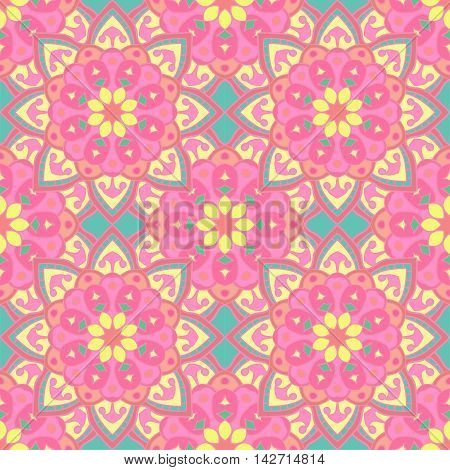 Abstract floral seamless pattern in beautiful eclectic colors. Vector illustration