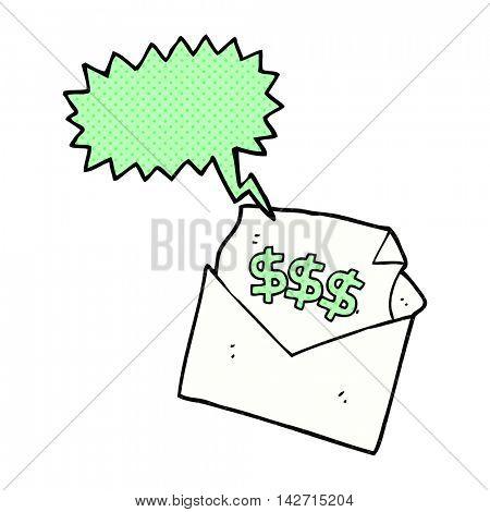freehand drawn comic book speech bubble cartoon bill letter