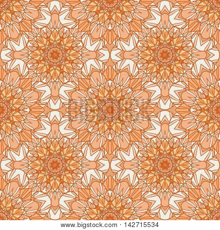 Seamless pattern with Mandalas in brown colors. Vector illustration