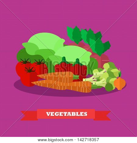 Vegetable food products vector illustration in flat style design. Healthy food poster.