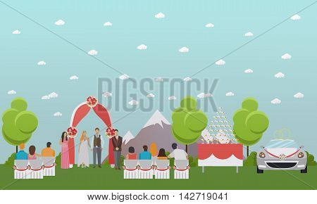 Wedding ceremony design vector banners. Outdoor wedding party. Bride and groom celebrate their marriage.