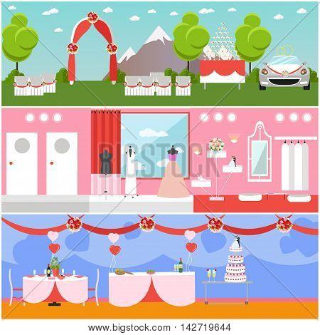 Wedding ceremony design vector banners. Wedding party interior.