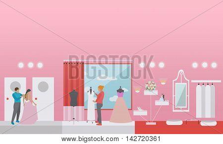 Wedding shop interior vector illustration. Preparing to party concept.