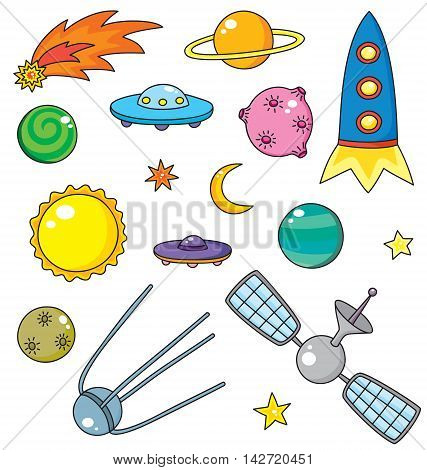 Vector collection of spaceship, planets and stars
