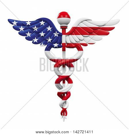 Caduceus American Flag isolated on white background. 3D render