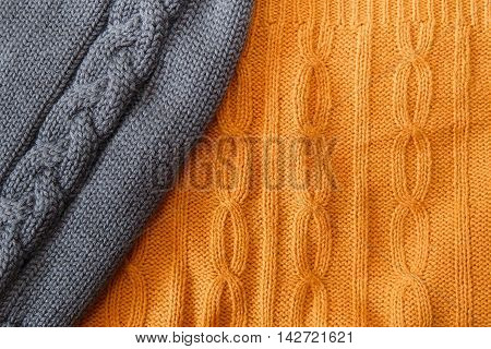 Yellow and Grey Knitted Items with Braids and Pattern.Hand Made;Fancywork.Background poster