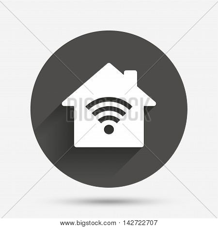 Home Wifi sign. Wi-fi symbol. Wireless Network icon. Wifi zone. Circle flat button with shadow. Vector