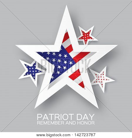 Origami Patriot Day star on grey background. We will never forget. Paper cut Poster Template. Abstract american flag background. September 11 2001. Vector illustration