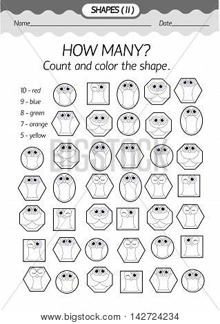 Training material- coloring book : how many? Count and color the shapeGeometric shapes in the form of an owl . Black and white vector illustration.