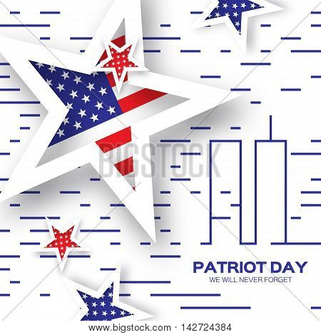 Origami Patriot Day on white background with lines. Twin Tower. Abstract american flag. Stars and stripes. We will never forget. September 11 2001. Vector illustration. Poster Template.