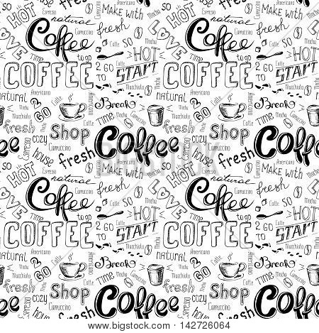 seamless doodle coffee pattern on white background hand drawn vector illustration