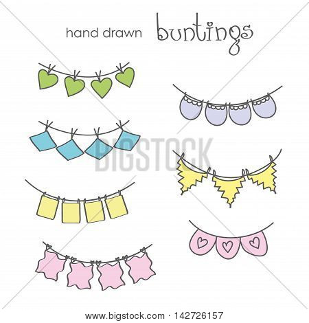 Hand drawn doodle bunting flags set. Doodle birthday party design elements vector