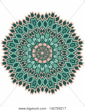 Ethnic mandala with beige and green geometric elements isolated on white.