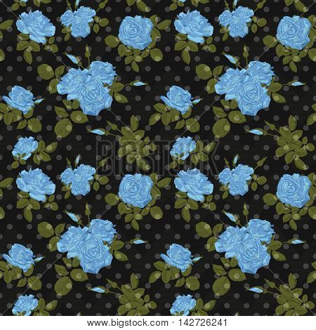 Seamless flower blue roses pattern on black background