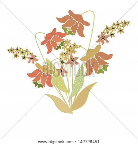 Bouquet of retro flowers illustration background isolated