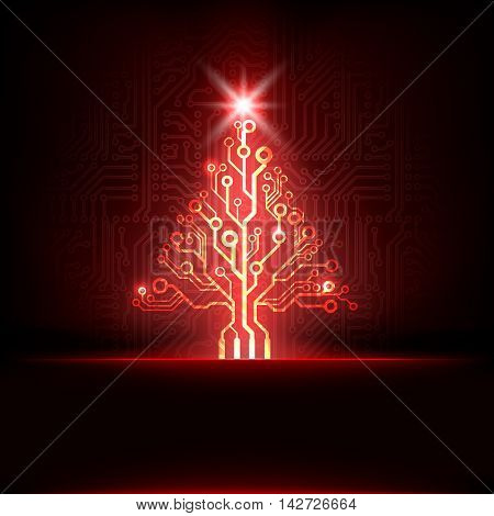 Vector electronic circuit board red christmas tree