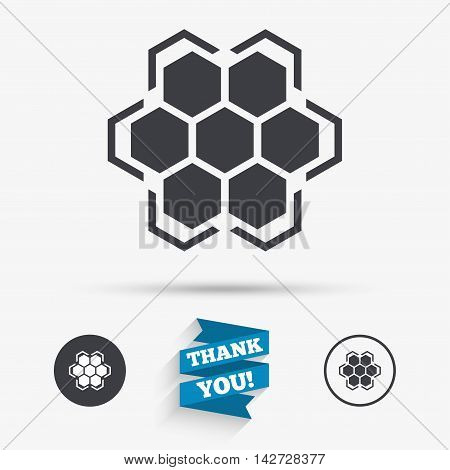 Honeycomb sign icon. Honey cells symbol. Sweet natural food. Flat icons. Buttons with icons. Thank you ribbon. Vector