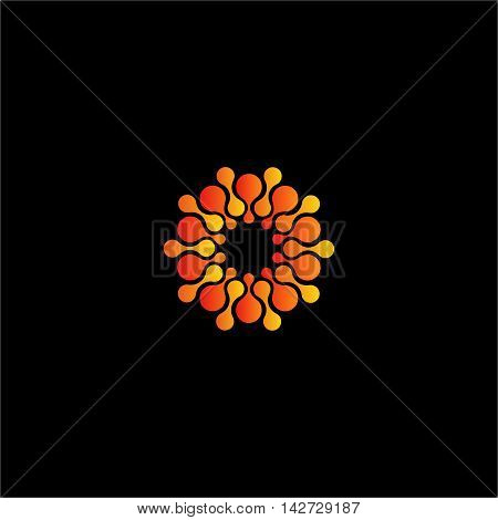 Isolated abstract orange color flower vector logo. Sun illustration on the black background. Molecular structure. Virus image. Medical element. Firework sign. Paint drops splash
