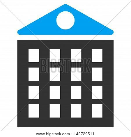 Multi-Storey House icon. Vector style is bicolor flat iconic symbol with rounded angles, blue and gray colors, white background.